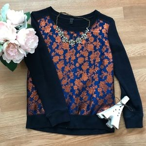 J Crew metallic floral embroidered pullover